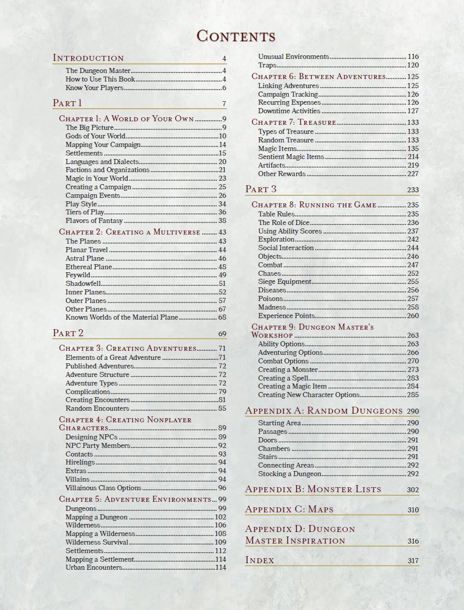 master guide The dungeon master's guide for 5th edition is an excellent resource for dungeon masters and a necessity for playing the game part 1 contains a couple of chapters offering advice on building your own campaign worlds, including pantheons and laying out your multiverse.