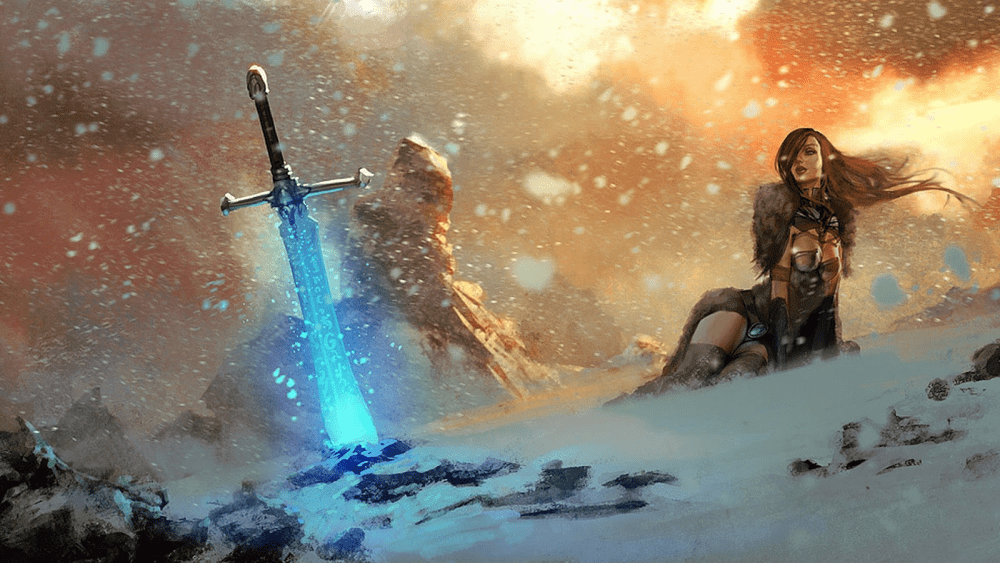 magic sword in the snow