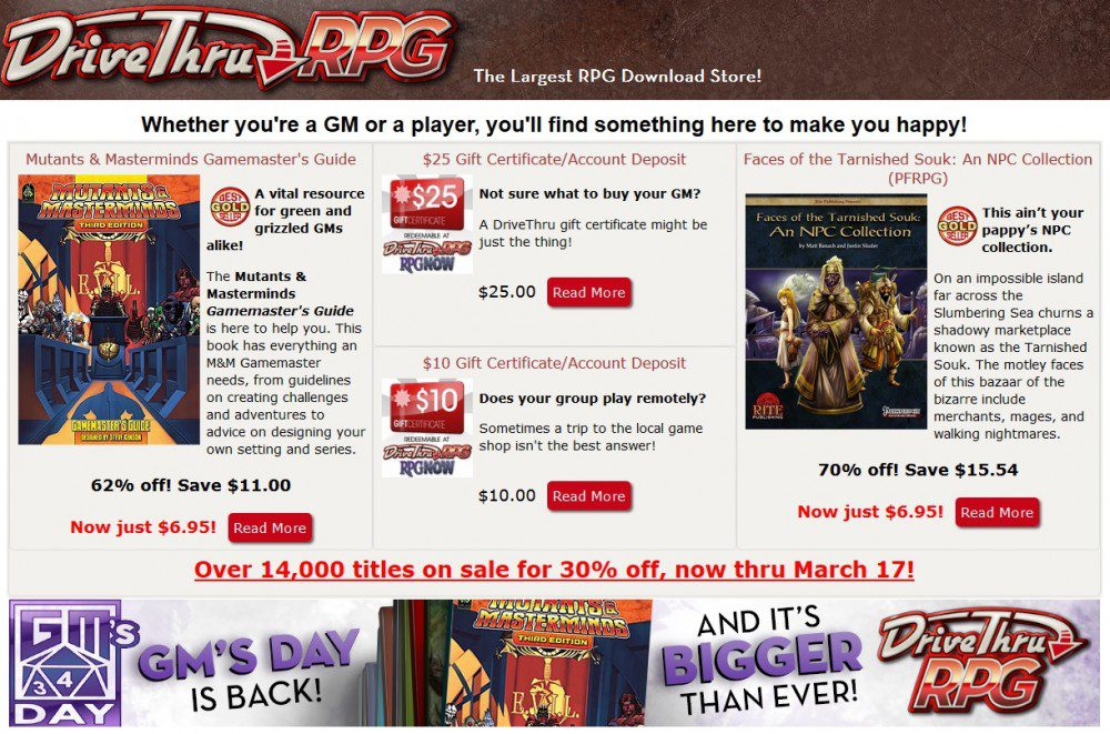 GM's Day Sale at DriveThruRPG
